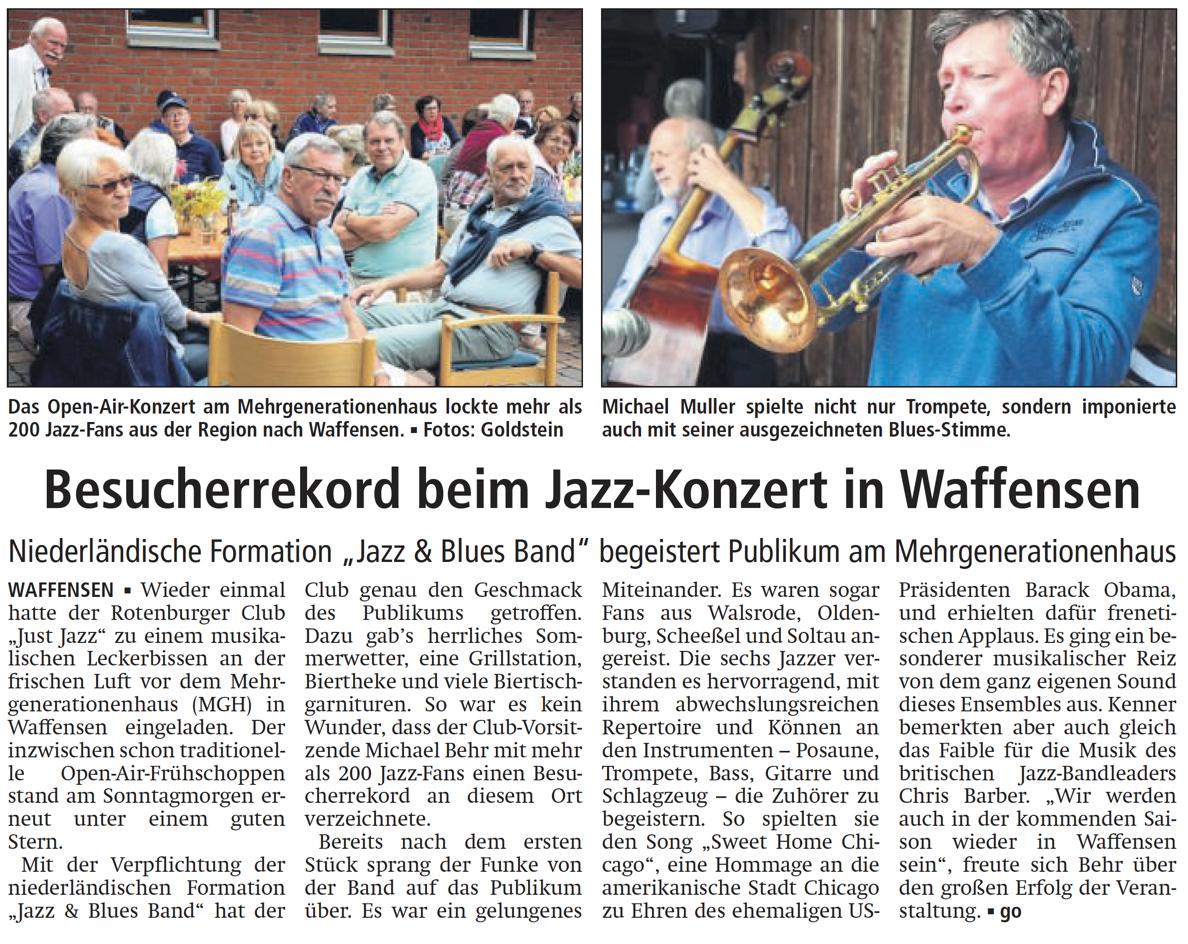 Bericht Der Rotenburger Kreiszeitung Zum Jazzfrühschoppen In Waffensen.