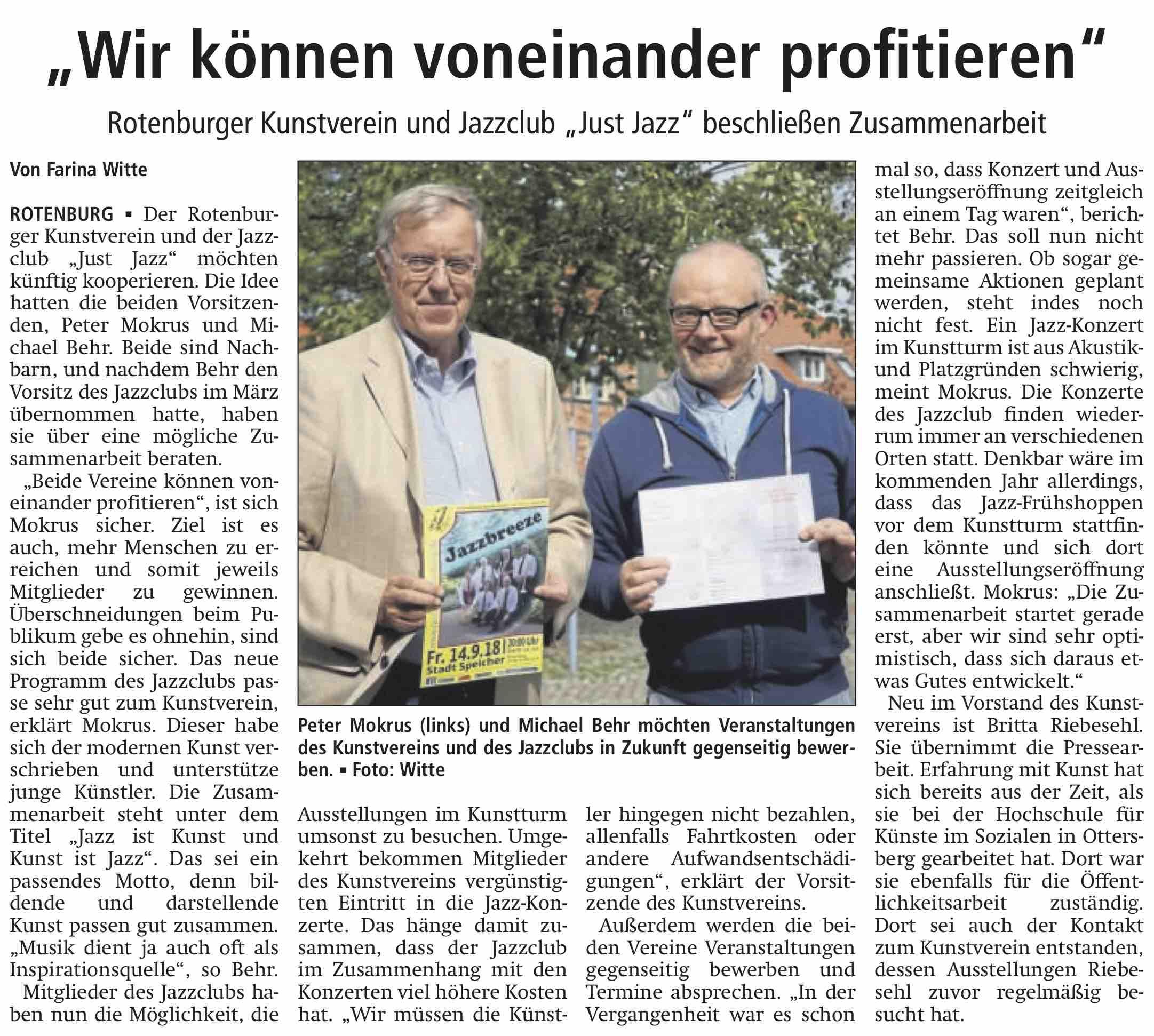 Zeitungsbericht über Kooperation Vom Jazzclub Mit Dem Kunstverein.
